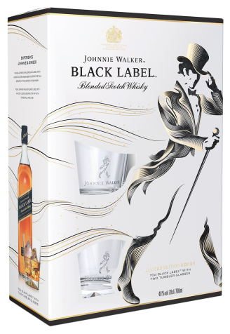 Виски Johnnie Walker Black Label 0.7л с бокалами 1